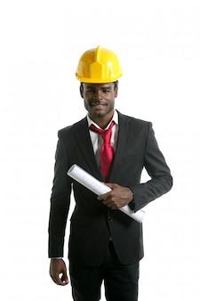 アフリカ系アメリカ人建築家エンジニア黄色ヘルメット