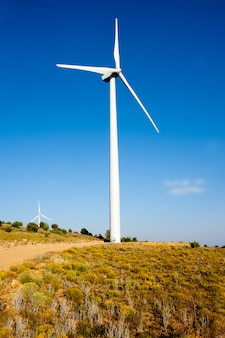 黄金の丘の中の風力発電機