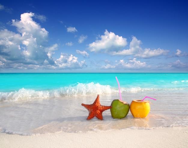 熱帯のビーチでココナッツカクテルジュースとヒトデ