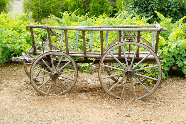 ぶどう畑でワインの古い木馬カート