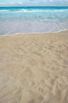 ビーチの砂の視点夏の海岸線の海岸
