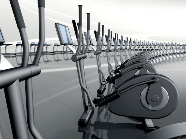 Футуристический современный тренажерный зал с эллиптическим кросс-тренажером