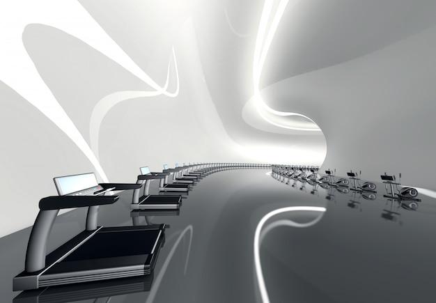 Футуристический современный тренажерный зал с беговой дорожкой и эллиптическим тренажером