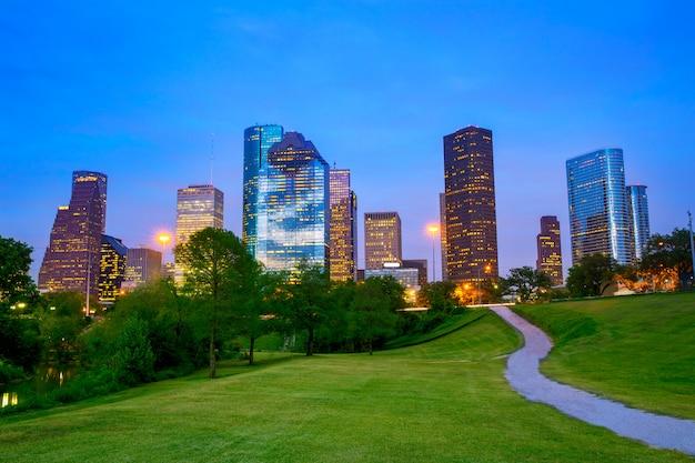 公園から夕暮れの夕暮れヒューストンテキサス近代的なスカイライン