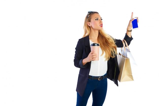 Блондинка шопоголик женщина сумок и смартфонов