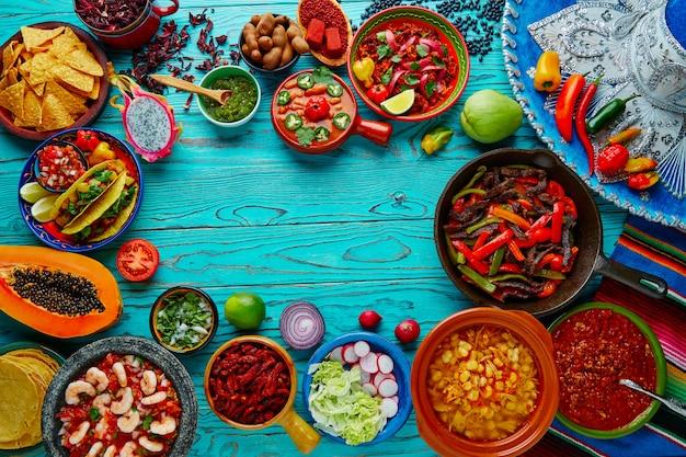 メキシコ料理ミックスカラフルな背景メキシコ