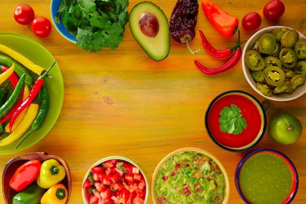 メキシコ料理のミックスワカモレナチョスチリソース