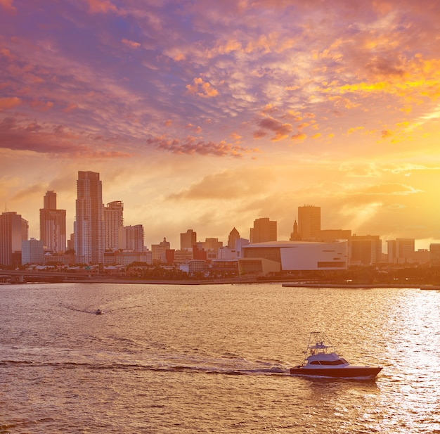 Майами центр города закат закат флорида сша