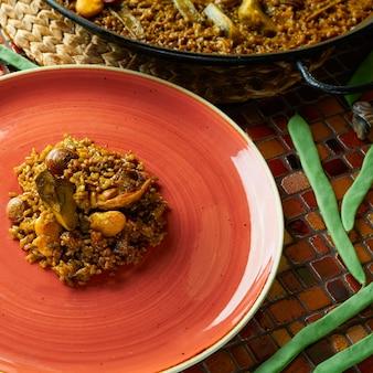 鶏とウサギのバレンシア風パエリア
