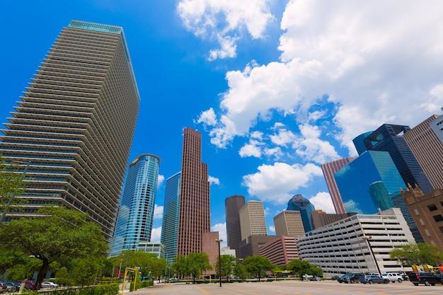 米国テキサス州ヒューストンのスカイラインの街並み