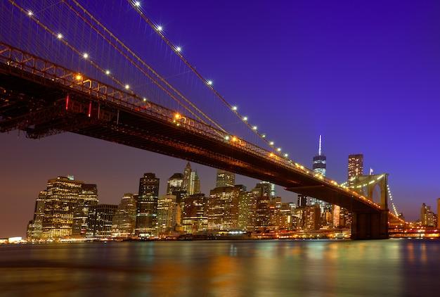 Бруклинский мост закат нью-йорк манхэттен