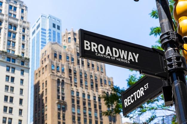 ブロードウェイストリートサインマンハッタンニューヨークアメリカ