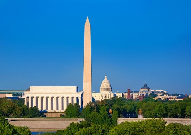 Монумент вашингтона, капитолий и мемориал линкольна