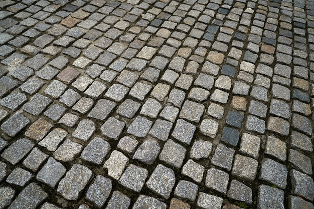 ドイツ通りの花崗岩玉石舗装