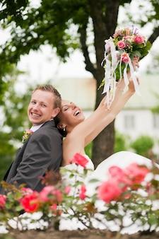 結婚式、幸せなカップル