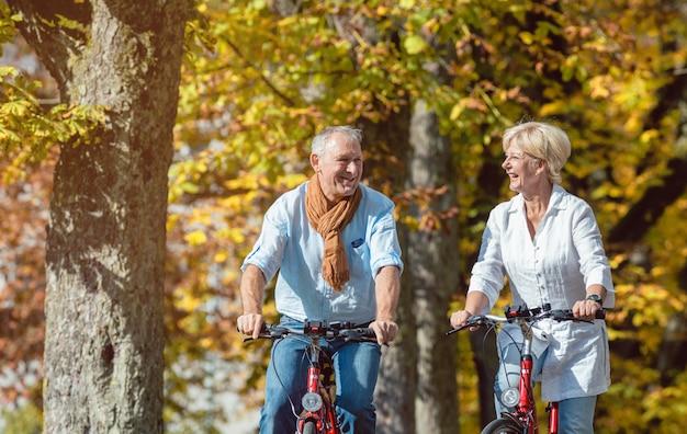 公園でツアーを持つ自転車の高齢者