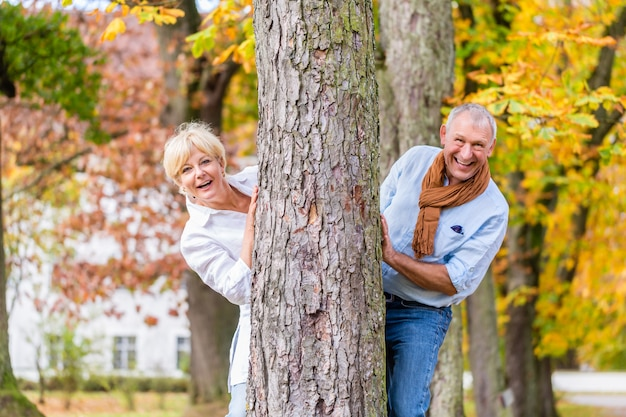 Пожилая пара флиртует, играя вокруг дерева в парке