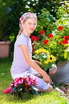子供の庭での園芸
