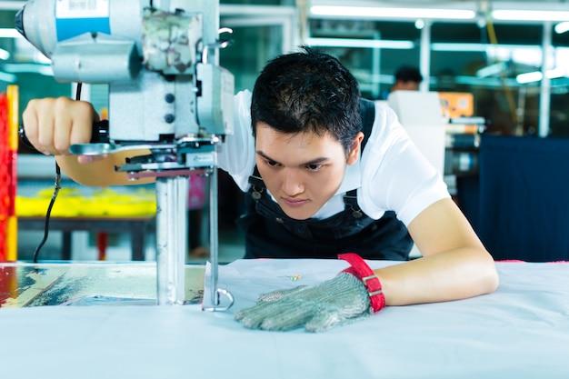 中国の工場で機械を使用する労働者
