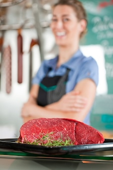 Мясо говядины с мясником