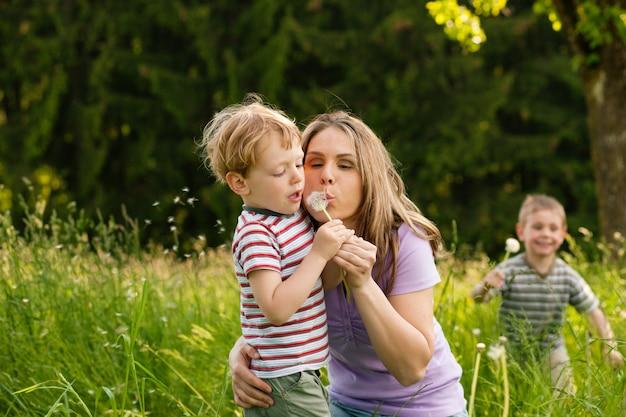 家族の夏-タンポポの種を吹く