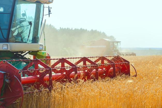 麦畑に取り組んでいるコンバイン