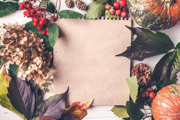 秋の組成物。秋の紅葉、果実、白い背景の上のカボチャ、コピースペース。