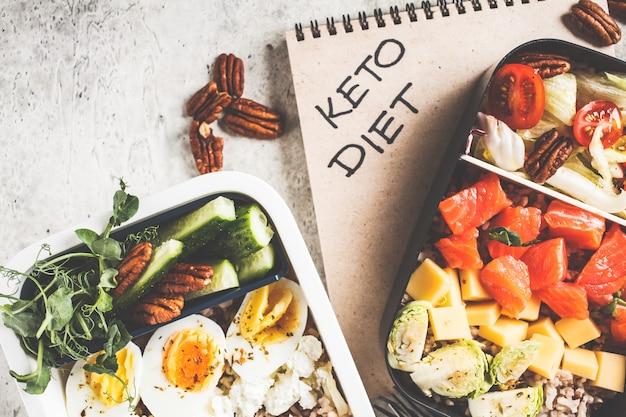 ケトダイエット食品、トップビューでランチボックス。食品容器に入ったサーモン、チーズ、卵、野菜。