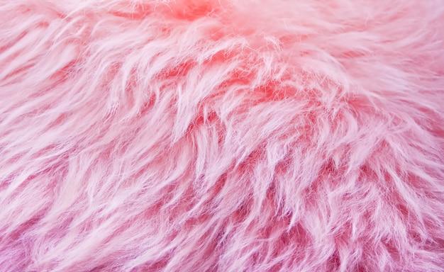 Фоновая текстура розового меха, текстура шерсти животного происхождения, натуральная шерсть пушистая