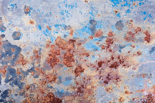 剥離塗料とさびた古い金属の背景