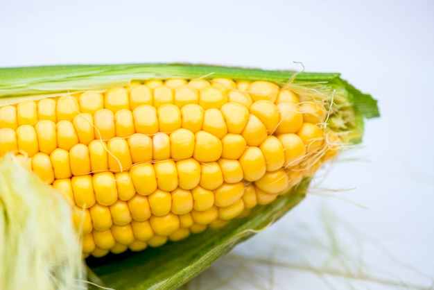 黄色いトウモロコシの穂軸のクローズアップ、マクロ撮影