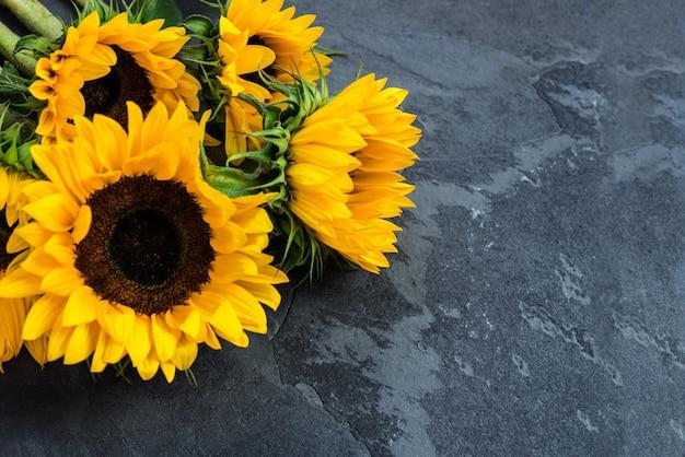 黄色のひまわり、秋のコンセプト