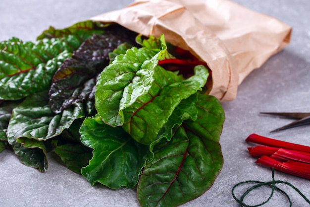 チャードスイスの新鮮な緑と赤の紙袋