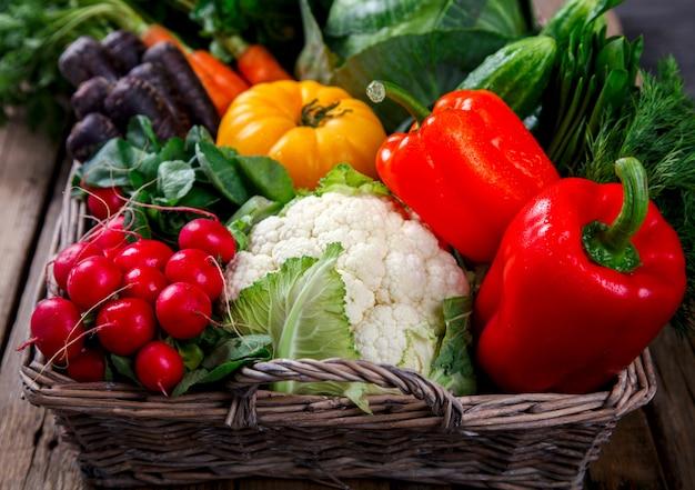 Большая корзина с разными свежими фермерскими овощами
