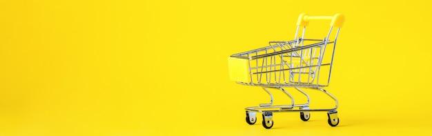 ショッピングカートのトロリーバスケットは空です。概念割引。