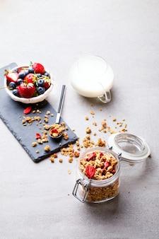 新鮮な果実とグラノーラシリアルバー