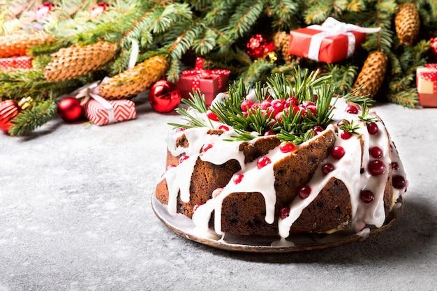 クリスマスフルーツケーキ、プリン、ベーキング
