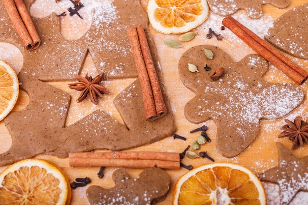 Изготовление пряников. рождественская выпечка фон