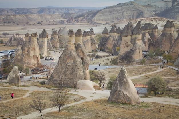 派手な岩、木々や洞窟のあるカッパドキアの風景