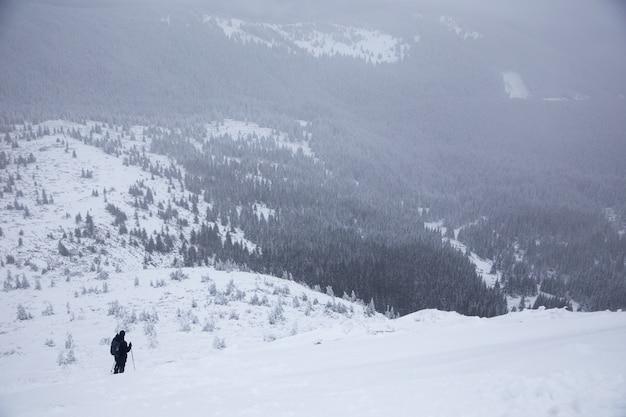 Красивый зимний горный пейзаж. зимний пейзаж со свежим снегом в горном лесу