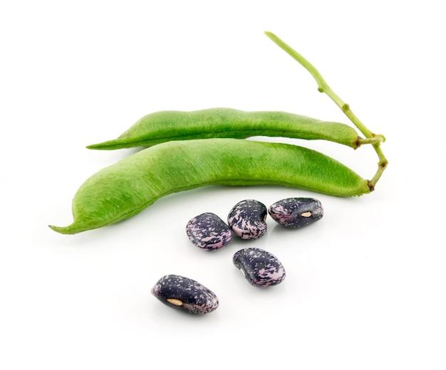 熟したインゲン豆、白で隔離される種