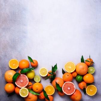 シトラスフルーツ。新鮮な柑橘系の果物の葉の盛り合わせ。オレンジ、グレープフルーツ、レモン、ライム、みかん。上面図