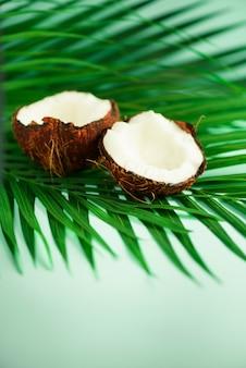 Кокос над тропических зеленых пальмовых листьев. поп-арт дизайн, концепция творческого лета. сырая веганская еда.