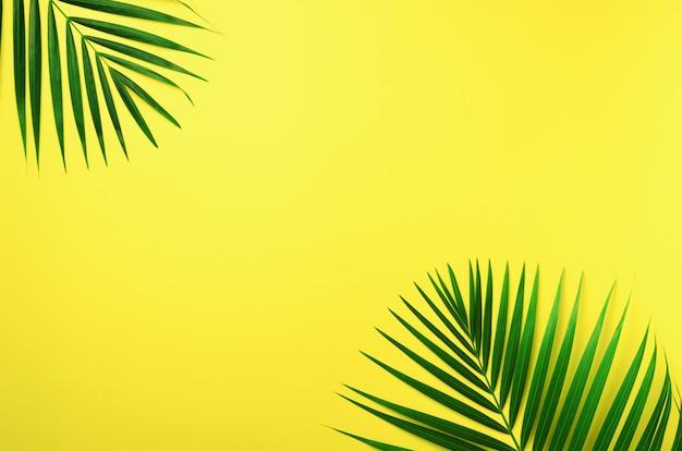 熱帯のヤシはパステル調の黄色の背景に残します。最小限の夏のコンセプトです。コピースペースで創造的なフラットレイアウト。