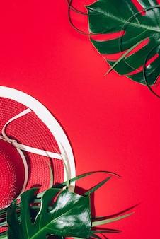 紙の背景に女性の夏の赤い帽子、熱帯のヤシ、モンステラの葉