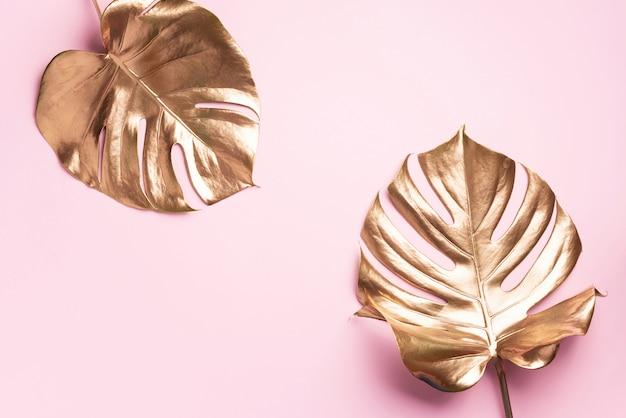 花のミニマルスタイルのコンセプト。エキゾチックな夏のトレンド。黄金の熱帯ヤシのモンステラリーフ
