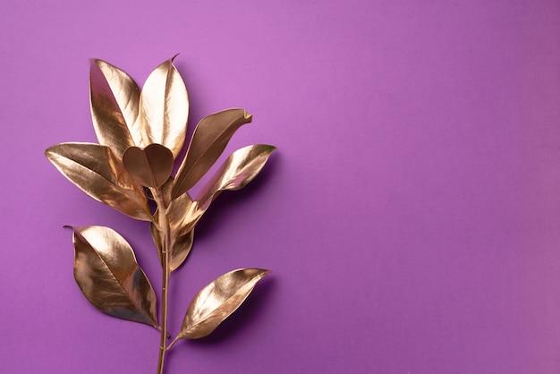 花のミニマルスタイルのコンセプト。エキゾチックな夏のトレンド。黄金の熱帯の葉と枝