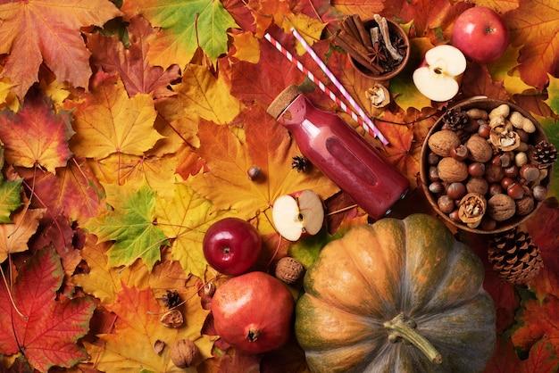 秋のビーガンとベジタリアン料理のコンセプトです。