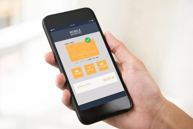スマートフォンの画面上の電子インターネットモバイルバンキングアプリケーション