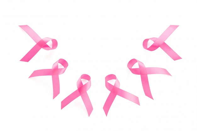 サテンピンクリボンシンボルのグループ、乳がん啓発キャンペーン